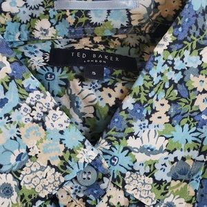 RARE Ted Baker trim fit shirt sz 5 floral 16.5